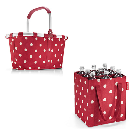 Con Bottlebag di Reisenthel si possono trasportare comodamente fino a nove bottiglie (11,90 euro); della stessa linea anche il capiente Carrybag (54,90 euro)