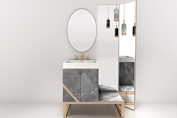 Il bagno Harmony è caratterizzato dal gioco di incisioni diagonali.  Le ante frontali in marmo sono interrotte da inserti in acciaio satinato