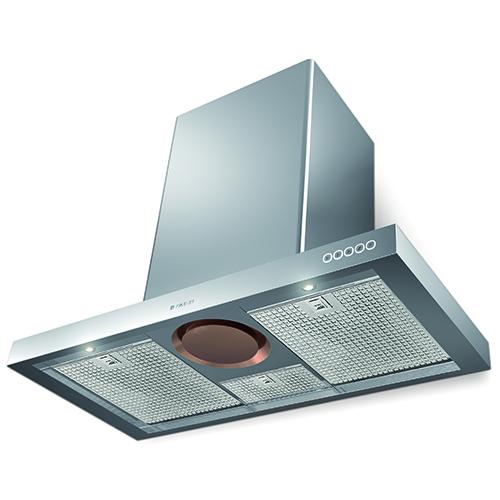 Da Faber la tecnologia Steam off System (qui nel modello Luft) che permette alla cappa di risucchiare fumi e vapori. Grazie a questo sistema, è possibile dire addio al fastidioso problema della condensa e del suo deposito di umidità sotto e attorno alla cappa