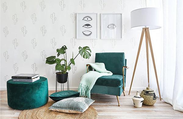 """Ispirazione <a href=""""https://www.dalani.it/)"""">Dalani</a>: pareti decorate con stencil a forma di cactus"""