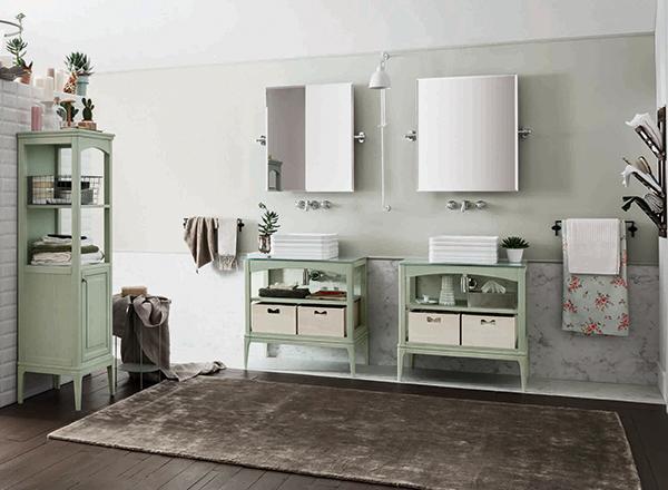 Il bagno si tinge di verde pastello per il modello Maison in frassino di Arbi
