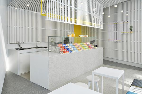 LePur Yogurt Shop di Pechino si caratterizza per le grandi piastrelle in ceramica effetto tessuto della collezione Digitalart di Ceramica Sant'Agostino