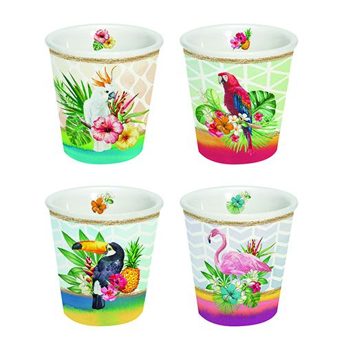 """<em>Tropical Friends </em> di <a href=""""http://www.easylifedesign.it"""">Easy Life</a> è una ricca e divertente collezione di mug e bicchierini per il caffè per rallegrare la tavola in estate"""