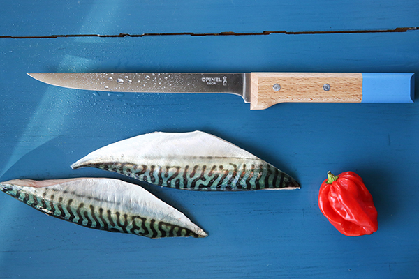 """Precisione e sicurezza: il coltello <a href=""""http://www.opinel.com"""">Opinel</a> per filettare il pesce. Fa parte della collezione <em>Parallèle Pop </em>che si caratterizza peril manico in legno di faggio arricchito da fasce di colore (29,90 euro)"""