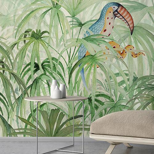"""Per i più audaci: tappezzare un'intera parete con una stampa tropicale. Da <a href=""""http://www.wallpepper.it"""">WallPepper </a>la serie <em>Tropikos</em>: la natura è abitata da fenicotteri, tucani e coloratissimi pappagalli"""
