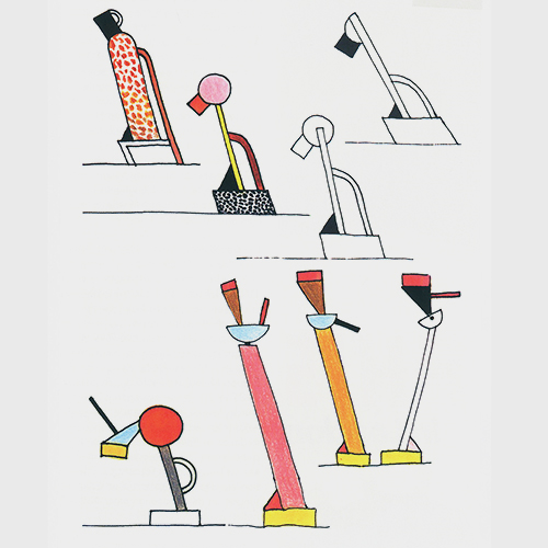 Drawing for the lamps Tahiti und Cavalieri, 1981