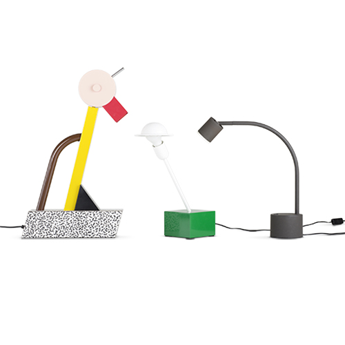 Left: Tahiti, table lamp, 1981, Manufacturer: Memphis Middle: Nr. 20084, Don, table lamp, 1977, Manufacturer: Stilnovo spa Right: Halo Click, table lamp, approx. 1988, Manufacturer: Philips (photo: Jürgen Hans)
