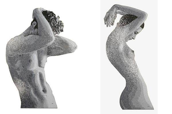 La bellezza del corpo celebrata nella collezione Hedonism di Sicis: il mosaico riproduce fedelmente le curve femminili e la tensione dei muscoli maschili