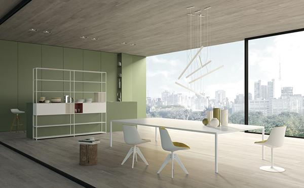 Il mobili componibile Minima 3.0, lo sgabello Sag,  il tavolo Tense, la sedia e lo sgabello Flow