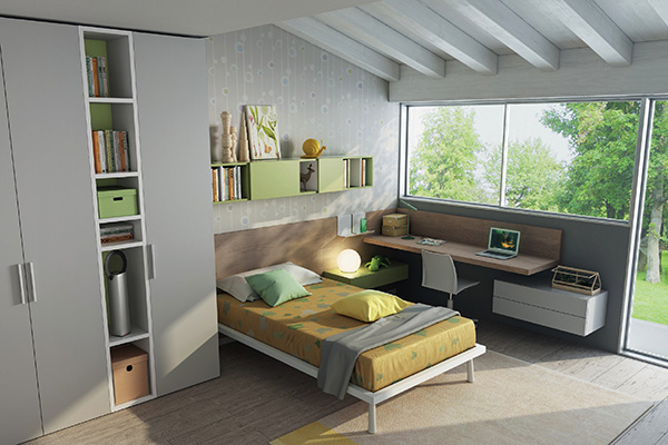 Questa soluzione a schema libero (referenza Z789) è pensata per sfruttare gli angoli e moltiplica gli spazi occupando più livelli delle pareti