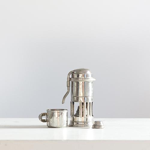 Mini caffettiera da viaggio/albergo in argento - marca Stella - alimentazione ad alcool - tazzina e  contenitori inglobati nel cilindro