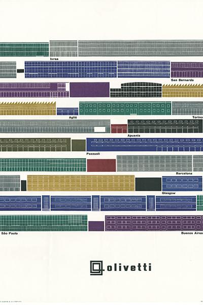 """Locandina pubblicitaria realizzata nel 1956 da Giovanni Pintori """"Olivetti - Profili delle fabbriche"""""""