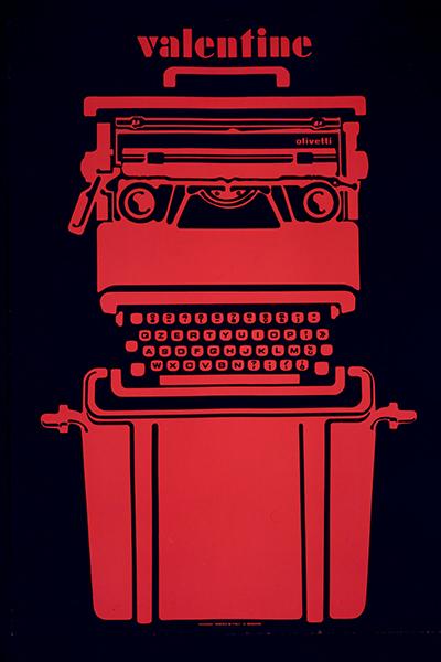 Locandina pubblicitaria realizzata nel 1969 da Roberto Pieracini per la macchina per scrivere portatile <em>Valentine</em> di Ettore Sottsass