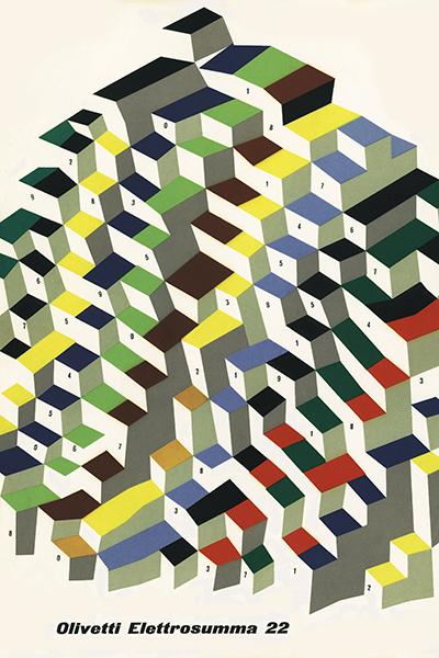 """Locandina pubblicitaria realizzata nel 1956 da Giovanni Pintori """"Macchina da calcolo Olivetti Elettrosumma 22"""""""