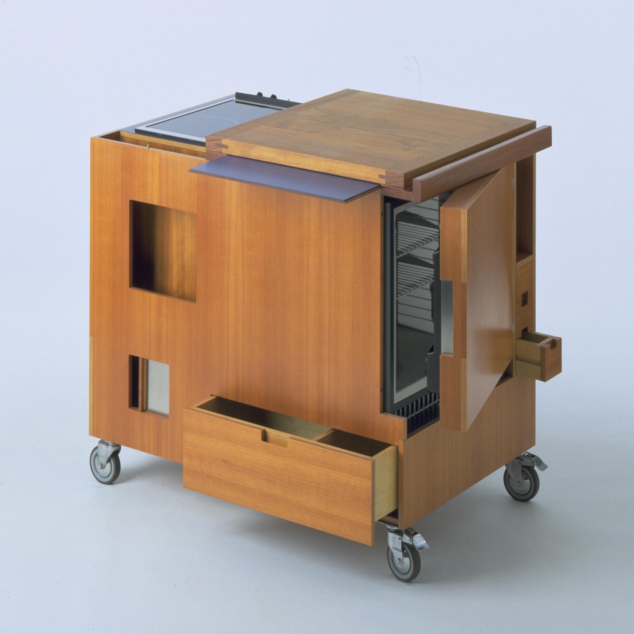 Il settore più presente in mostra è l'arredamento.  La Minikitchen di Joe Colombo per Boffi (1963)