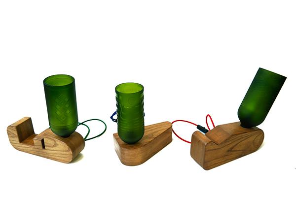 Le lampade realizzate con bottiglie di Mlondolosi Hempe