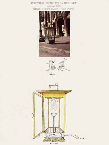 """""""Attrezzature urbane per la collettività. Cabina doccia"""", dalla ricerca """"Riconversione progettuale"""", fotomontaggio, 1979, misura 30x40 centimetri"""