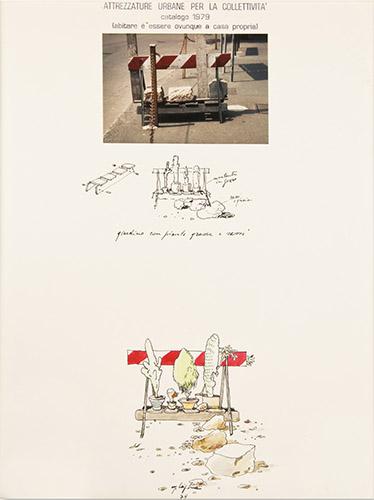 """""""Attrezzature urbane per la collettività. Giardino"""", dalla ricerca """"Riconversione progettuale"""", fotomontaggio, 1979, misura 30x40 centimetri"""