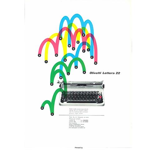 Una pagina di pubblicità della Lettera 22 Olivetti pubblicata sulla rivista Domus