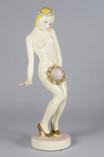 Elena König Scavini , Sposina, 1930, modello 160, terraglia, h 32 x 10,8 x 9,4 cm