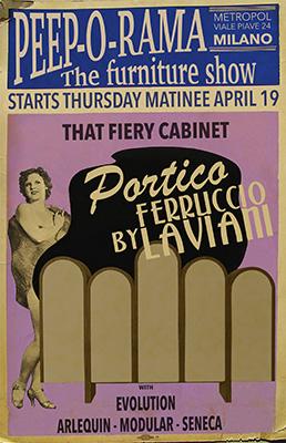 Il cabinet Portico nella locandina dell'evento ispirata al burlesque