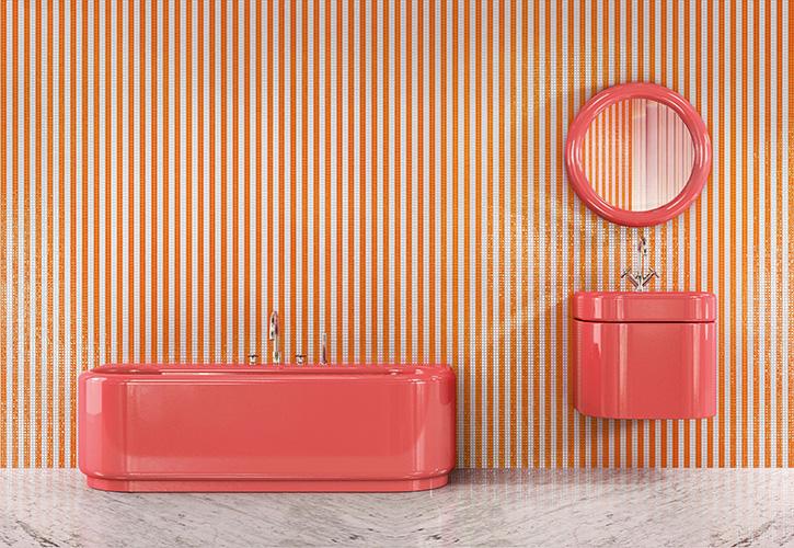 «Ho trasformato il bagno in una bolla di colore e humour». Così India Mahdavi racconta la collezione per Bisazza Bagno, formata dalla vasca <em>plouf</em>, il lavandino <em>splash</em> e lo specchio <em>wow</em>