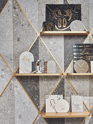 La serie firmata Marazzi si ispira ai marmi più pregiati, alla personalità materica del cemento e al fascino minerale dei metalli (foto Omar Sartor)