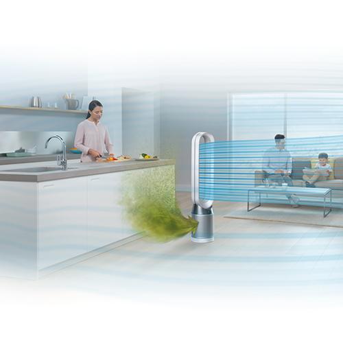 Per purificare l'aria c'è Dyson Pure Cool che elimina per esempio le particelle inquinanti emesse dai fornelli durante la combustione
