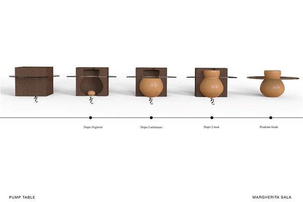 <em>Pump Table</em> di Margherita Sala: tavolo basso che utilizza il ciclo naturale di crescita di una zucca come parte del processo di produzione