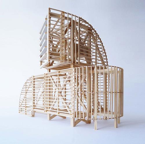 Modello strutturale del padiglione H-VAC dello studio PUP Architects