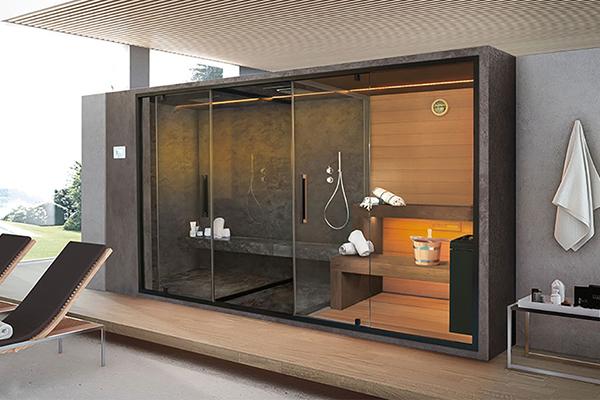 """<em>Ethos G</em> di <a href=""""https://gruppogeromin.com/it/category/sauna-bagno-turco/sauna-it/"""">Sauna Vita</a> è un sistema completo formato da bagno turco, spazio doccia e sauna"""