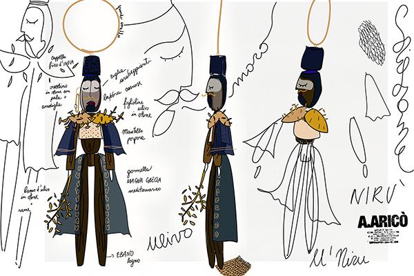 Nirù, disegnata da Antonio Aricò e realizzata da Saverio Zaminga, è una piccola marionetta in legno con elementi tipici calabresi: un piccolo moro in ebano che tiene in mano un ramoscello d'ulivo in ottone, con mantello color porpora e gonnella in velluto blu che richiama il Mediterraneo