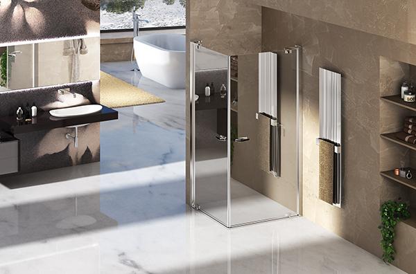 """Lacabina doccia <a href=""""https://www.duka.it/it/"""">Duka</a>con vetro cromato a effetto specchio, riflettente solo sul lato esterno"""