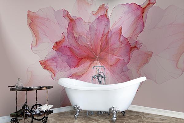 """Naturale ed ecosostenibile, il rivestimento creativo a basso spessore di <a href=""""http://www.pixieonweb.com/"""">Pixie</a> è realizzato in Extreme Fibra (100% in fibra di vetro) che si adegua a tutte le superfici di posa. Qui è proposto nella nuova fantasia floreale <em>Rouches</em>"""