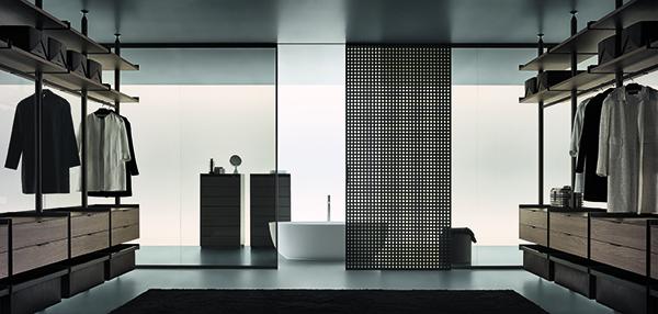 <em>Spazio</em> di Giuseppe Bavuso per Rimadesio, un sistema versatile per scandire gli ambienti, formato da pareti fisse abbinate a porte scorrevoli