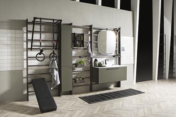 """<em>Gym Space</em> è nuovo progetto firmato <a href=""""https://www.scavolini.com/Arredo_Bagno"""">Scavolini Bagno</a> che fonde sala da bagno e palestra"""