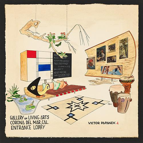 Victor J. Papanek - Galleria delle arti viventi, Corona Del Mar, CA, Lobby d'ingresso, design per spazio espositivo, 1949 - 1952 (© Università di Arti Applicate di Vienna, Victor J. Papanek Foundation)