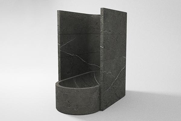 Ll'opera Abside di Emanuel Gargano per Ramella Graniti e Trambisera Marmi Abside è un elemento d'arredo di forte carattere architettonico ispirato alle chiese medievali, all'interno della casa diventa uno spazio a parte contemporaneamente ad uso di vasca da bagno e doccia