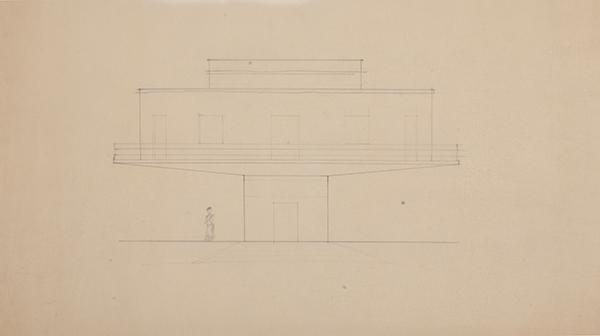 Pier Luigi Nervi, Studio per Mottagril. Sezione, 1962-1967, matita su carta da lucidio, misure