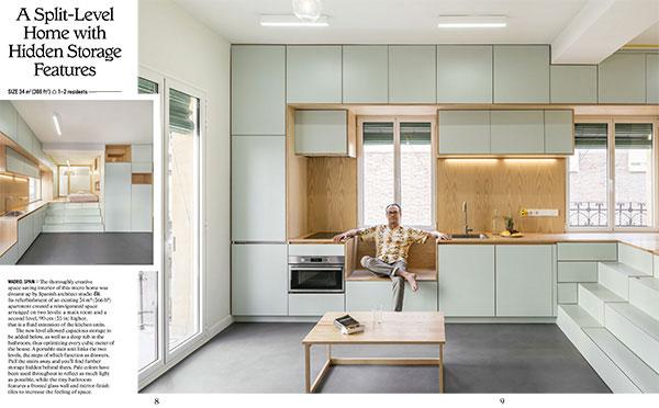 """Siamo a Madridin un appartamento di 34 metri quadrati ristrutturato dallo studio <a href=""""http://elii.es"""">Elii</a>. Tra i punti di forza le soluzioni trasformabili (come le scale che nascondono dei cassetti) e i colori:tonalità pallide permettono diriflettere tanta lucementre il piccolo bagnopresenta una parete in vetro smerigliato e una finitura a specchioper aumentare la sensazione di spazio (foto <em>Petit Places</em>, Gestalten 2018)"""