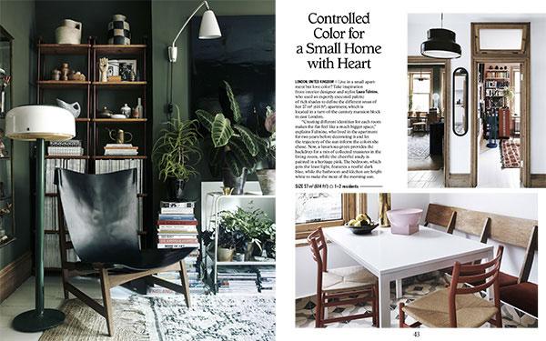 """L'interior designer <a href=""""http://laurafulmine.com"""">Laura Fulmine</a> per questo appartamento di 57 metri quadrati a Londra ha fatto un'attento studio sull'utilizzo dei colori perché come spiega: «Creare identità diverse per ogni stanza rende l'appartamento come uno spazio molto più grande». Ha scelto il verde per il soggiorno, il rosa per lo studio, il blu per la camera da letto e il bianco per la cucina e il bagno sfruttando così al meglio il sole del mattino (foto <em>Petit Places</em>, Gestalten 2018)"""