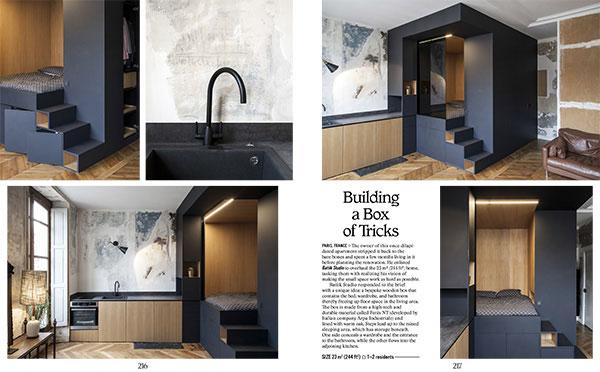 """La soluzione dello <a href=""""http://batiik.fr"""">Batiik Studio</a> per arredare un monolocale di 23 metri quadrati a Parigi prevede una """"scatola"""" di legno che contiene il letto, l'armadio e il <a href=""""http://design.repubblica.it/2018/09/25/lo-spirito-industriale-del-bagno/"""">bagno</a>. In questo modo si libera lo spazio sul pavimento nella zona giorno. Questa """"scatola"""" è realizzata in un materiale durevole chiamato <em>Fenix NT</em> sviluppato dalla italiana <a href=""""http://www.arpaindustriale.com"""">Arpa Industriale</a> (foto <em>Petit Places</em>, Gestalten 2018)"""