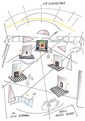 L'ambientazione della mostra <em>LG Signature Artweek 2018</em> nello schizzo di Alessandro Mendini