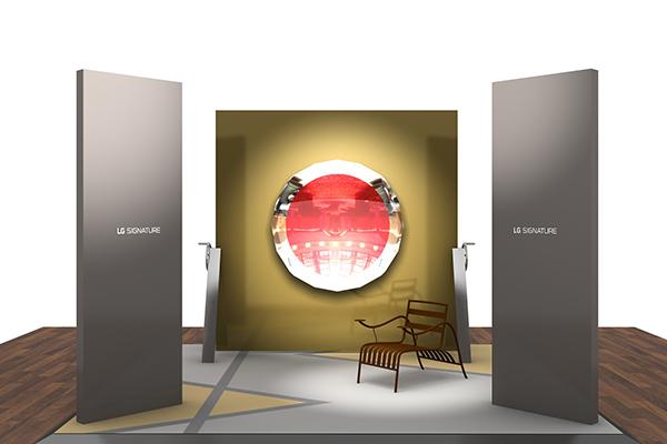 L'allestimento della mostra  <em>LG Signature Artweek 2018</em> a Madrid