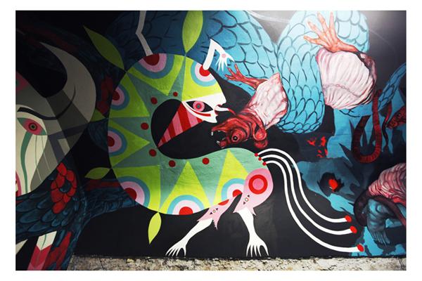 """""""Hic Sunt Leones"""". Murale di Nicola Alessandrini e Gio Pistone, a cura di Giorgio de Finis. Alla Casa dell'Architettura/Acquario Romano a Roma (piazza Manfredo Fanti 47), dall'8 novembre 2013 all'8 marzo 2014"""