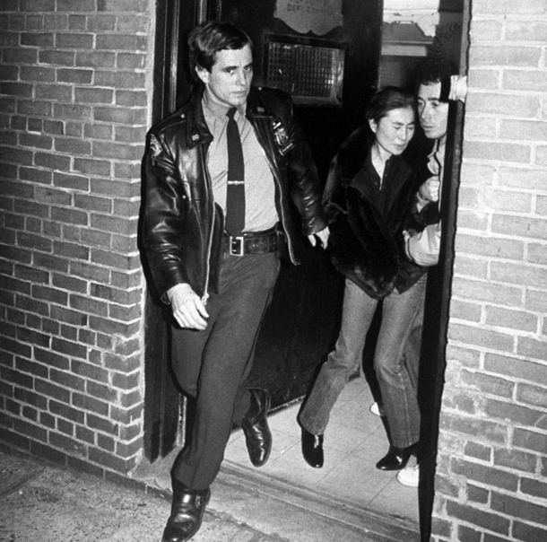 Yoko Ono leaving the hospital after her husband John Lennon