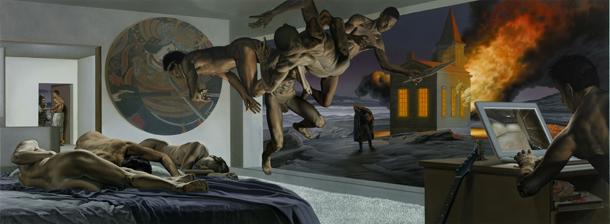 Nicola Verlato, Burzum, 2011-12, olio su tela, 159x 427 cm