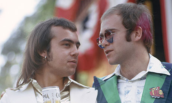'Probably the strangest relationship in pop music' … John with Bernie Taupin, California, 1973.