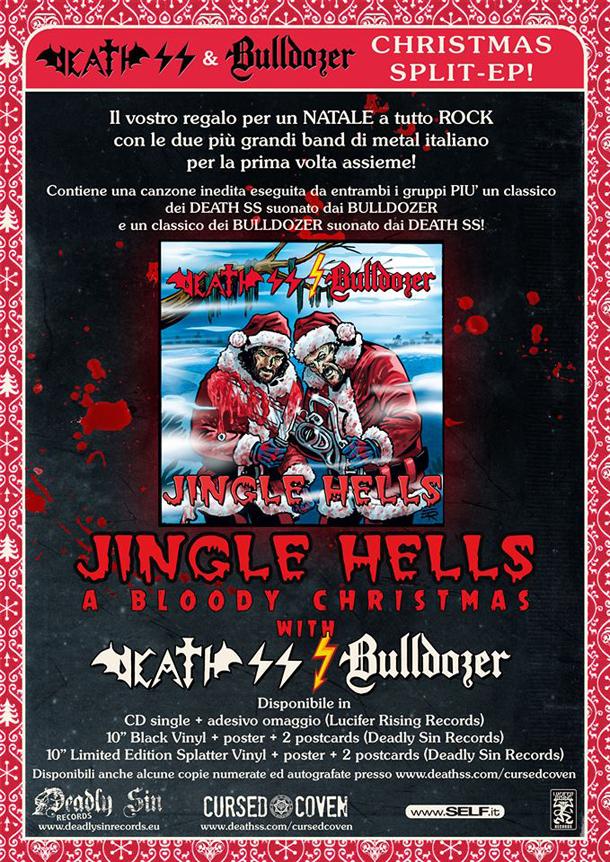 """Il flyer di """" Jingle Hells"""", lo Split Ep realizzato dai Death SS e dai Bulldozer"""