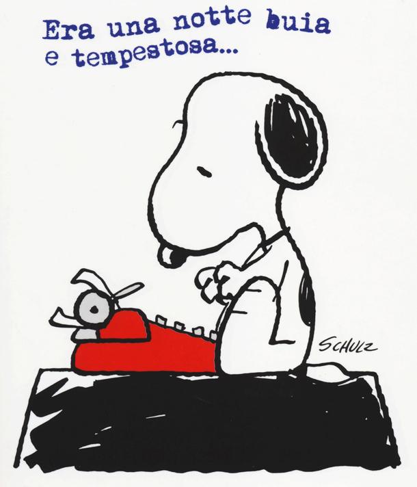 Era una notte buia e tempestosa... così Snoopy cerca sempre di iniziare il suo mai finito romanzo. In mostra la copia del vero romanzo con questo incipit.
